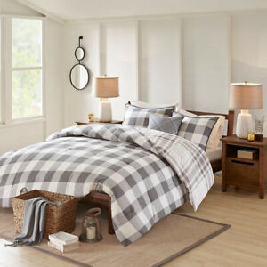 Cotton Face Grey Tan White Plaid Checker Reversible 4 pcs King Queen Comforter