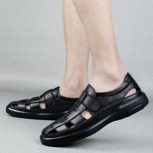 Men Summer Pointed Toe Walking Breathable Black Beach Sandals Beach Flats Shoes