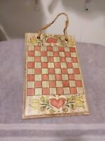 Country Primitive Hand painted Heart Checkerboard OOAK Hand Signed C Smith