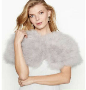 No 1 Jenny Packham. Grey Feather Stole. Satin Lining, One Size. New 👰🏼