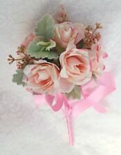 Flower-girl Floral Wand - Pink Rosebud Wand for Flowergirl, Wedding Flowers