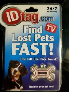 SMART TAG PET ID Medium Enamel Tag pink NIB