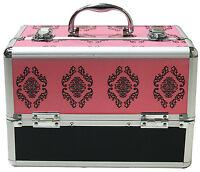 Pink Large Beauty Damask Cosmetic Box Make Up Vanity Case Nail Tech Salon Bag