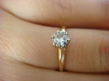 CLASSIC 14K YELLOW GOLD 0.30 CARAT SOLITAIRE DIAMOND VINTAGE ENGAGEMENT RING