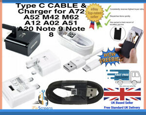 SAMSUNG GALAXY A21s A8s A30 A40 M20 A51 C9 Pro FAST MAINS CHARGER OR USB-C CABLE