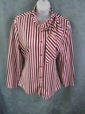 Vintage KoKo Knits of Calf. Striped Blouse Size 16 Striped Tie Neck Career Top