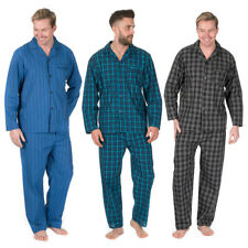 Mens Plus Size Woven Pyjama Set Shirt Trousers Nightwear Big Tall Stripe Check