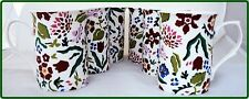 Wild Flower Meadow Mugs Set of Six Fine Bone China Floral Mugs Decorated in UK