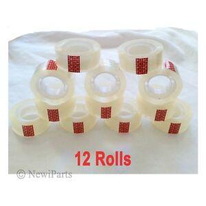 "12 Rolls Crystal Clear Transparent Tape Dispenser Refills 3/4"" x 1000"" Wholesale"