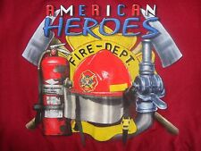 Red American Heroes Fire Department T Shirt M Free US Shipping
