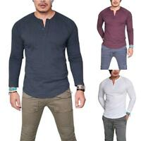 Fashion Mens Slim Fit V Neck Long Sleeve Muscle Tee T shirt Casual BlouseA