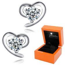 Brillianter Herz Zirkonia Ohrstecker aus 925 Silber Sterlingsilber + LED Box