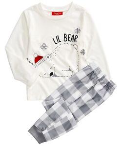 Family PJs Polar Bear Kids Matching Christmas Pajama Set - 8, Medium #4258