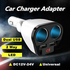 2 Way Car Cigarette Lighter Socket Splitter 12V DC Dual USB Car Charger Adapter