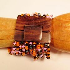 Orange Pink Handmade Beaded Stretch Wood Buckle Seed Bead Bali Bracelet