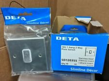 DETA 10A 1 gang 2way plate switch stainless steel white inserts, SD1203SS