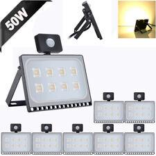8X 50W Motion Sensor LED Flood Light Ultra-thin Warm White Security Fixtures
