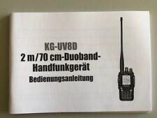 Deutsche manual de instrucciones en forma de papel para Wouxun transceptores kg-uv8d
