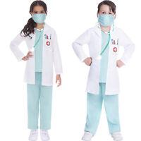 Childs Doctor Dr Nurse Fancy Dress Costume Scrubs Uniform Girls Boys Kids