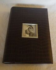"Brown Leather Photo Album Holds 4"" x 6"" Pictures 13"" Tall Nwot"