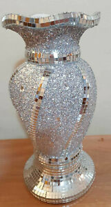 Crushed Diamond Ceramic Silver Vase Diamante Bling Home Decoration Ornament 30cm
