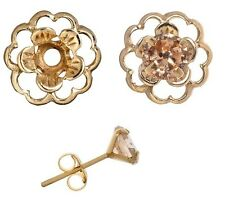 Jacket Earring Set Champagne Cubic and Gold over Silver Flower Earring Jacket