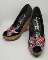 Ed Hardy Women's Coralie Heart Skull Tattoo Black Platform Wedge Heels/Pumps 7