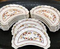Copeland Spode's, COWSLIP. S713  Half Moon Crescent Shape Salad Plates Set of 12