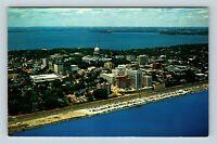 Madison WI Lake Mendota Monona Capitol Aerial View Chrome Wisconsin Postcard A38