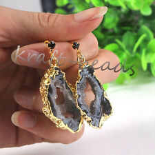 Natural Druzy Agate Slices Quartz Vug Crystals Geode Stone Stud Earrings Jewelry