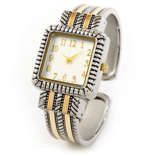 2Tone Metal Western Style Decorated Square Face Women's Bangle Cuff Watch