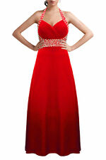 Stunning Red Wedding Bridesmaid Ballgown Evening Party Prom Dress Size 6-16