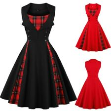 UK Plus Size Womens Girls Vintage Check Plaid Rockabilly 1950s Swing Retro Dress