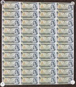 1973 Bank of Canada $1 Uncut Sheet of 40 - ECV Prefix Banknotes 4 x 10 Format