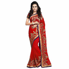 Indian Party Wear Bollywood Red Faux Chiffon Zari Embroidered Designer Saree