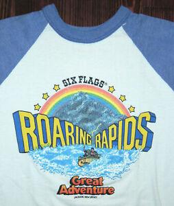 Shirt Vintage 80s Six Flags Roaring Rapids Theme Park Jackson New Jersey Small