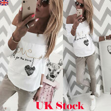 Women's Letter Casual Long Sleeve Tops Shirt Ladies Loose T-shirt Blouse White