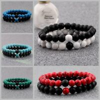 2X Distance Bracelets Lovers Couples Matching Gift Matte Agate 8mm Bead Stone