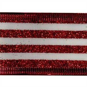 Red Glitter Stripes on White Wired Ribbon 50 Yards NEW christmas candy holiday