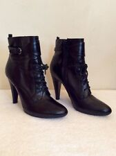 JANE SHILTON BLACK LACE UP LEATHER ANKLE BOOTS SIZE 3.5/36