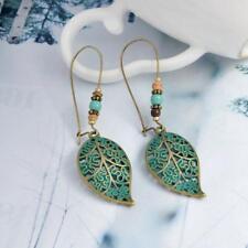 Women's Bohemian Hollow Leaf Earrings Ethnic Long Drop Dangle Green,Jewelry