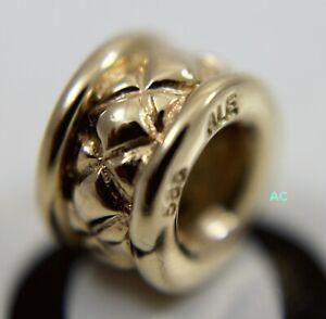 New Authentic Pandora 14k Gold Quilt XXX Charm Bead 75121 750121