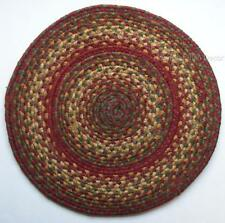 "Homespice Decor CIDER BARN Braided Jute 15"" Round Table Mat, Placemat"