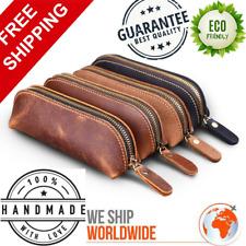 Vintage Pencil Case Handmade Genuine Leather Bag School Stationery Holder Pouch