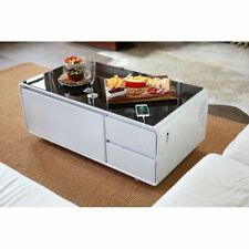 Smart Coffee Table With Refrigerator Bluetooth Speakers USB Charger White Black