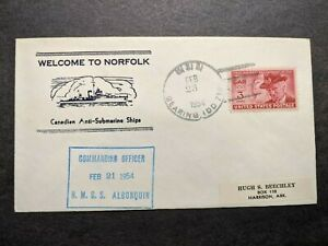 USS GEARING DD-710 Naval Cover 1954 CANADA HMCS ALGONQUIN Cachet