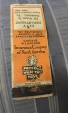 Vintage Matchbook Cover Matchcover Insurance Co Of North America Philadelphia PA
