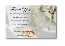50 Personalised Wedding Day , Wedding Evening Thank You , Thankyou Cards Ref W9