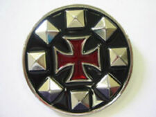 IRON CROSS BELT BUCKLE Red Iron Cross w/ Pyramid Studs NEW OFFICIAL MERCHANDISE