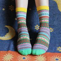 Vintage Unisex Stripe Cotton Socks Design Multi-Color Dress Women's Men's Socks